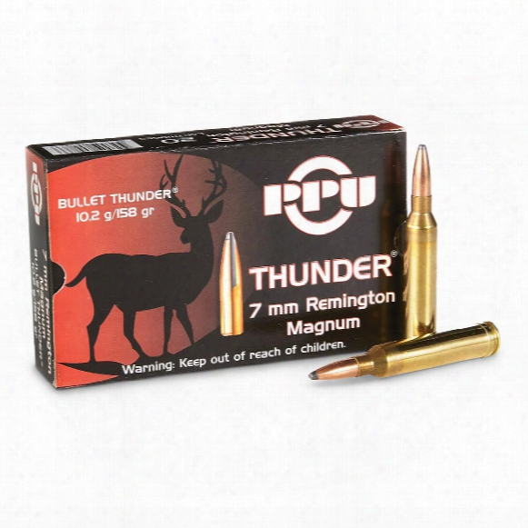 Ppu Thunder, 7mm Rem. Magnum, Grom Sp, 158 Grain, 20 Rounds