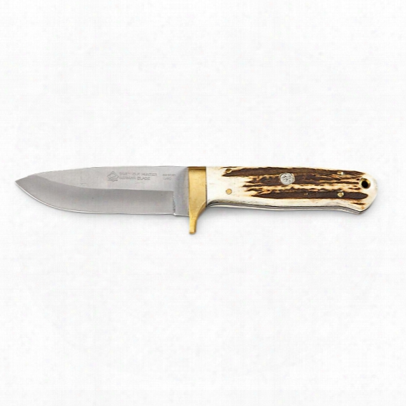 "Puma Sgb Stag Bone Elk Hunter Knife With Ballisti Cbelt Sheath, 4"" Blade"