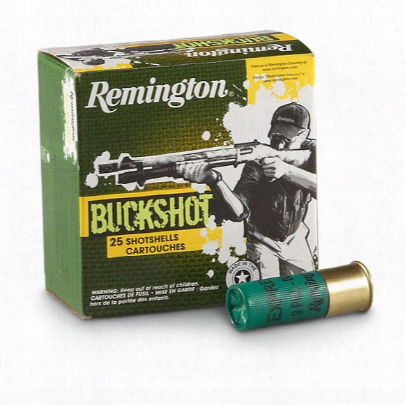 "Remington, 12 Gauge, 2 3/4"" Shells, 00 Buckshot, 25 Rounds"