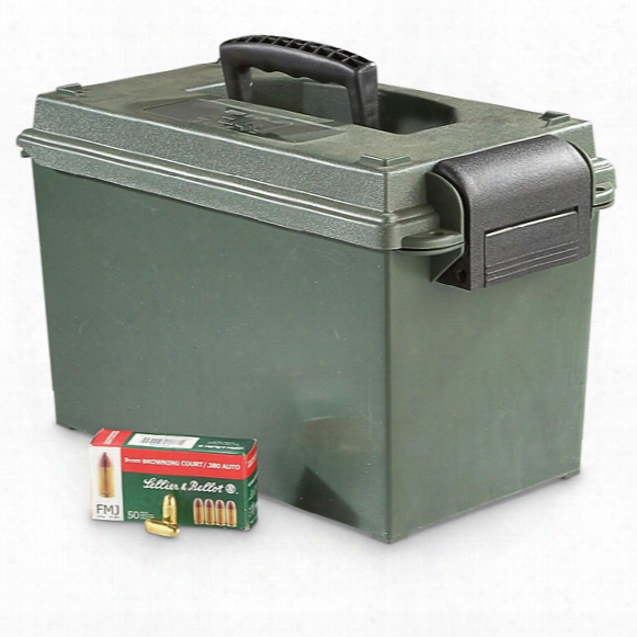 Sellier & Bellot, .380 Acp, Fmj, 92 Grain, 500 Rounds With .50 Caliber Ammo Can