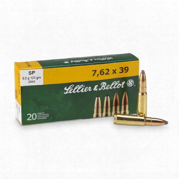 Sellier & Bellot, Rifle, 7.62x39, Sp, 123 Grain, 20 Rounds