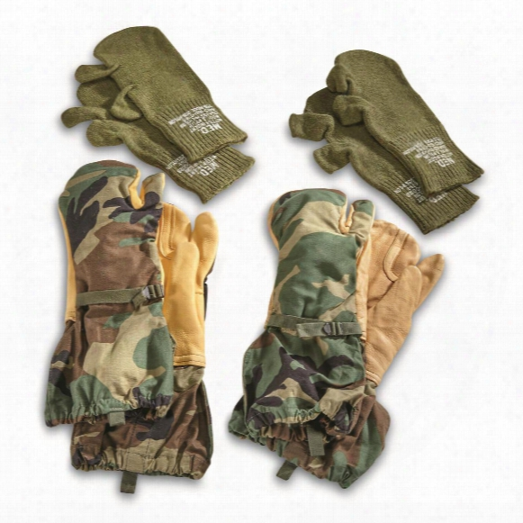 U.s. Military Surplus Trigger Mitts With Liners, 2 Pack, New