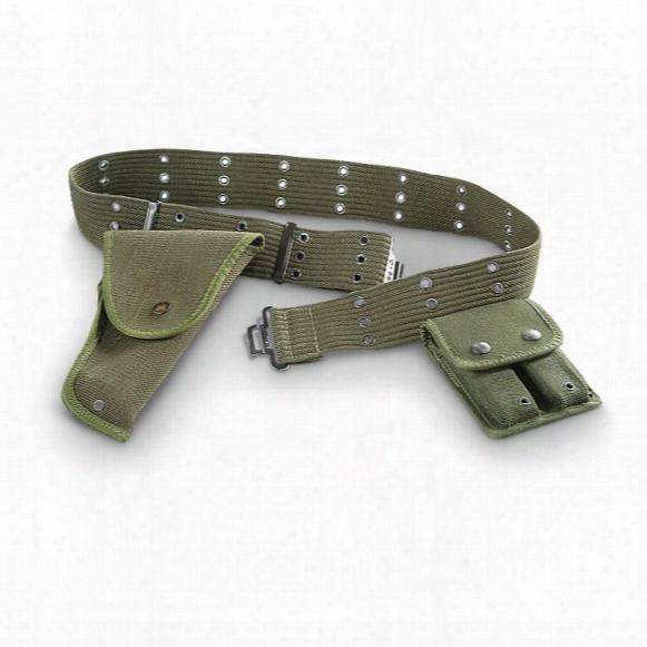 Used Belgian Military Surplus Pistol Belt / Holster / Ammo Opuch