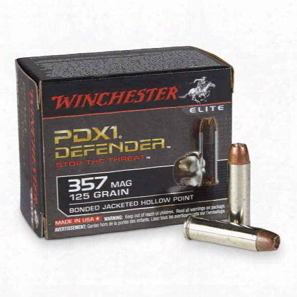 Winchester Pdx1 Defender, .357 S&w Magnum., Bjhp, 125 Grain, 20 Rounds