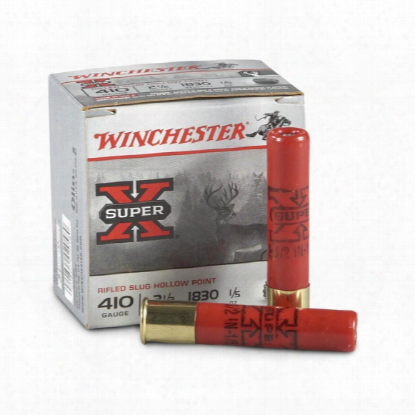 "Winchester Super-x, .410 Gauge, 2 1/2"" Slugs, Rifled Hollow Point, 15 Rounds"