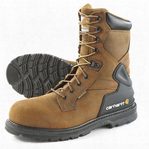 """Carhartt Men's Steel Toe Waterproof 8"""" Bison Boots, Harness Brown"""