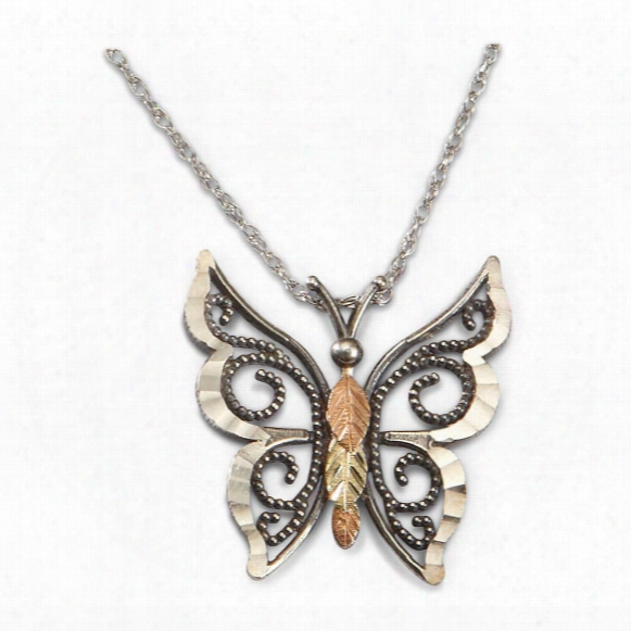 Coleman Black Hills Gold Sterling Butterfly Necklace