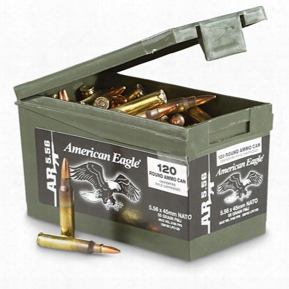 Federal American Eagle, .223 (5.56x45mm), Fmj, 55 Grain, 120 Rounds With Can