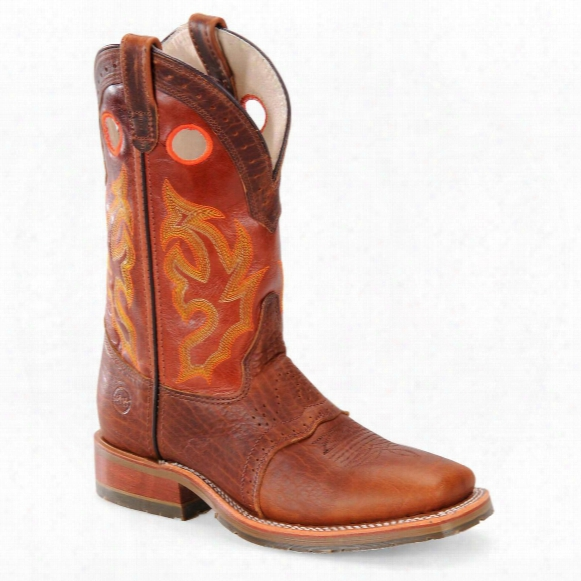 """Men's Double-h® 13"""" Domestic Wide Square Toe Ice Roper Work Boots, Brown / Red"""