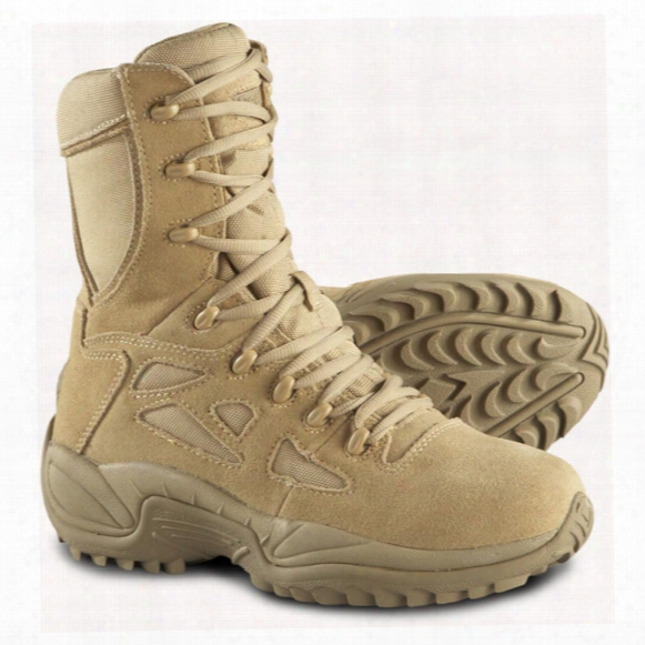 "Reebok Men's 8"" Rapid Response Rb Stealth Side Zip Combat Boots, Desert Tan"
