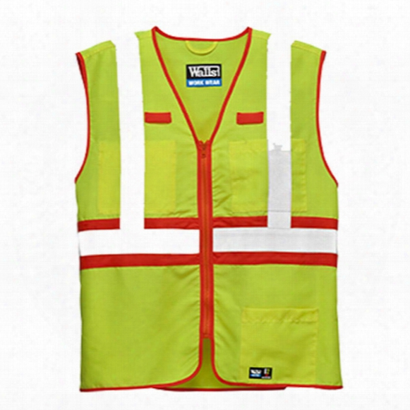 Walls® Ansi Ii Premium Safety Vest, Hi-vis Yellow