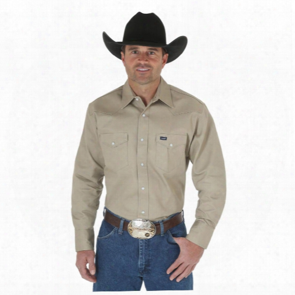 Wrangler Men's Cowboy Cut Western Work Firm Finish Twill Long Sleeve Shirt