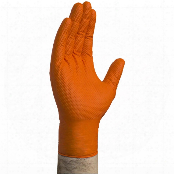 100-pk. Gloveworks Heavy Duty Orange Nitrile Gloves