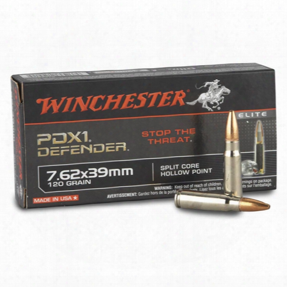 20 Rounds Of Winchester Pdx1 Defender Split Core 7.62x39mm 120 Grain Hp Ammo