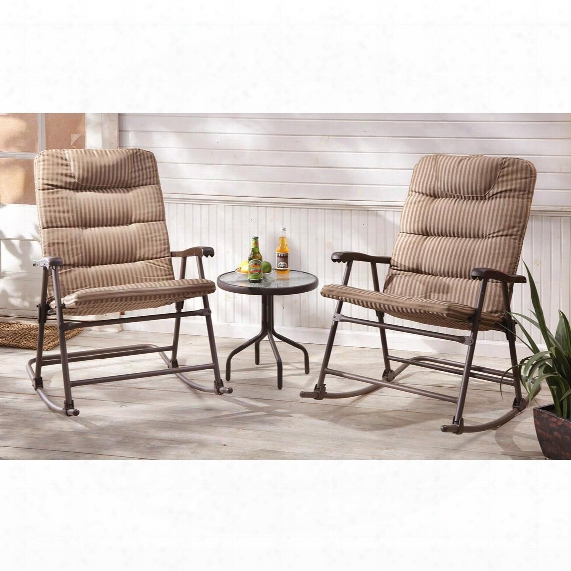 Castlecreek Padded Outdoor Rocking Chair Set, 3 Piece