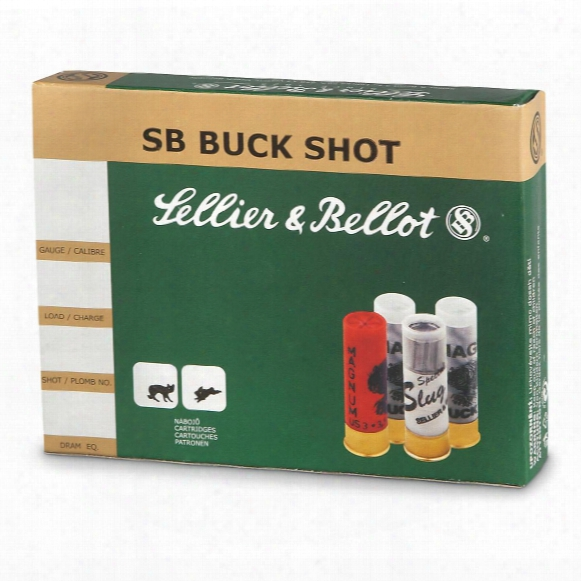 "Sellier & Bellot, 2 3/4"", 12 Gauge, #4 21-pellet Buckshot, 50 Rounds"
