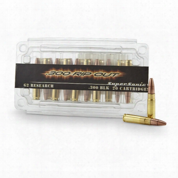 G2 Research Rip-out, .300 Aac Blackout, 110 Grain, Hp Supersonic Fracturing, 20 Rounds
