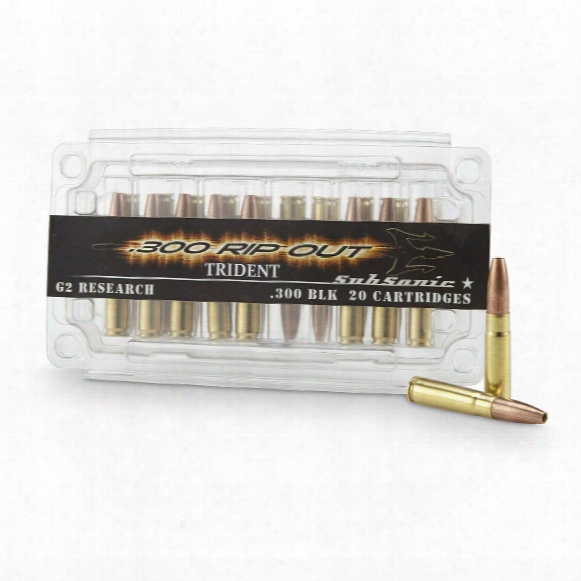 G2 Research Trident Rip-out, .300 Aac Blackout, Hp Subsonic, 200 Grain, 20 Rounds