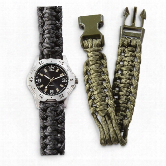 Mil-tec Military Style Survival Watch, 2 Paracord Bands