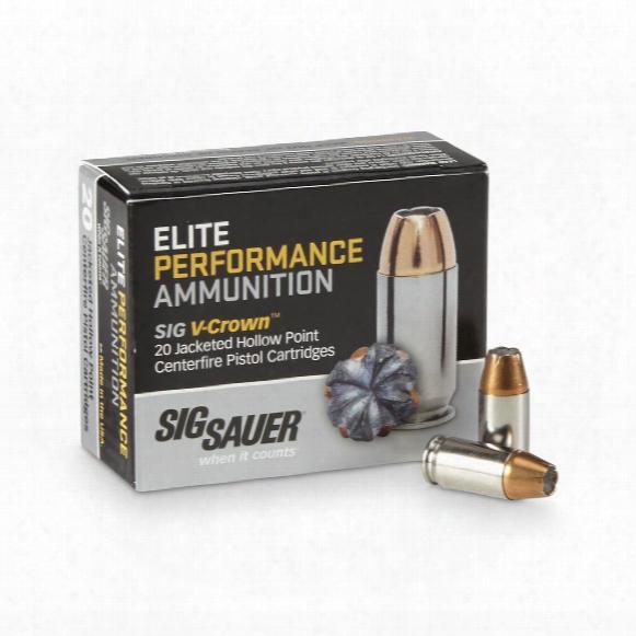Sig Sauer Elite Performance, .40 Smith & Wesson, V-crown Jhp, 165 Grain, 20 Rounds