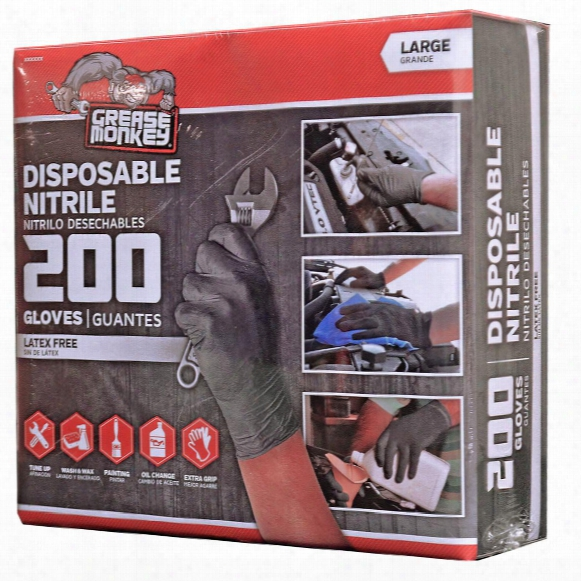 200-pk. Of Grease Monkey Disposable Nitrile-coated Gloves