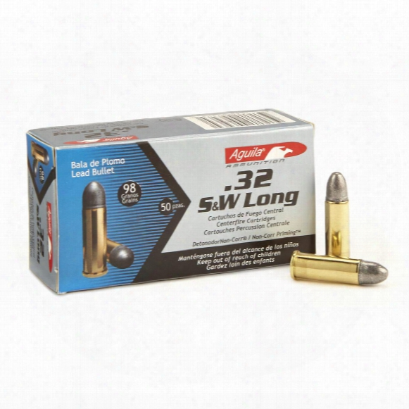 50 Rounds Of Aguila .32 S&w Long 98 Grain Lrn Ammo