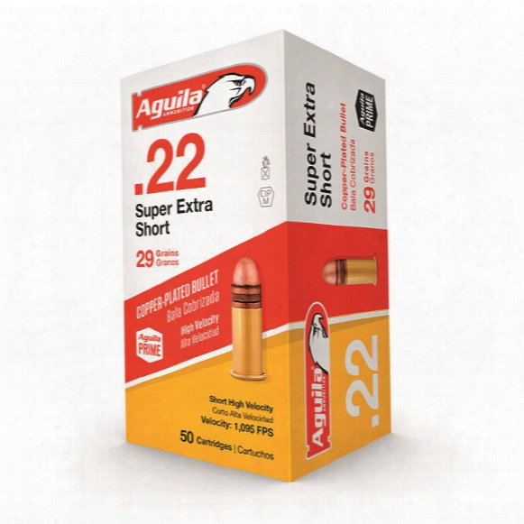 Aguila, .22 Super Extra Short Rimfire, Copper Plated Bullet, 29 Grain, 50 Rounds