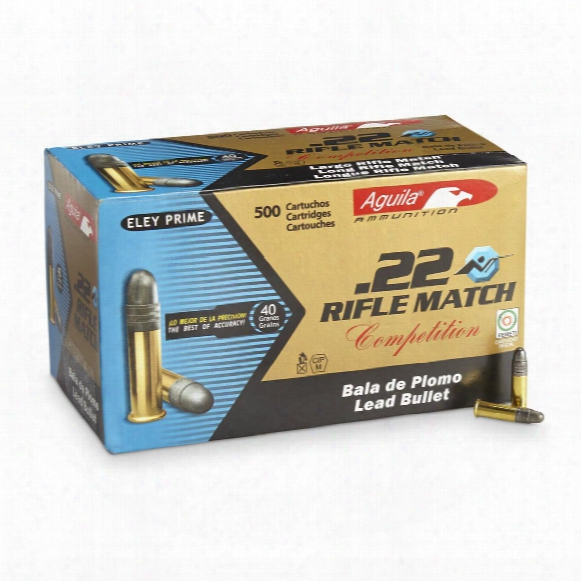 Aguila Rifle Match, .22lr, Lead Round Nose, 40 Grain, 500 Rounds