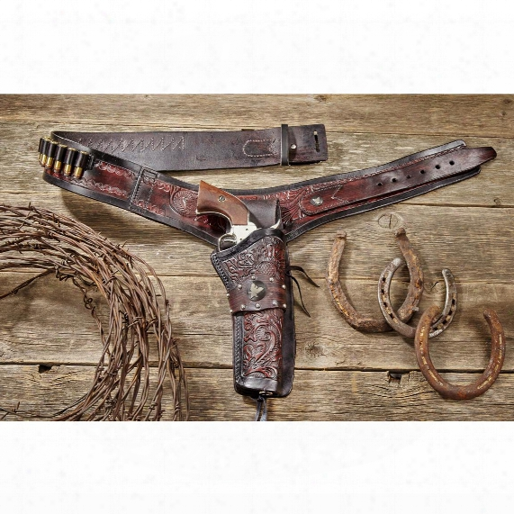 Classic Old West Styles Eagle Buscadero Rig Leather Holster Belt Set, .22 Caliber