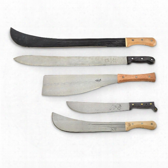 Colombian Military Surplus Assorted Machete Knives, 5-pack, New