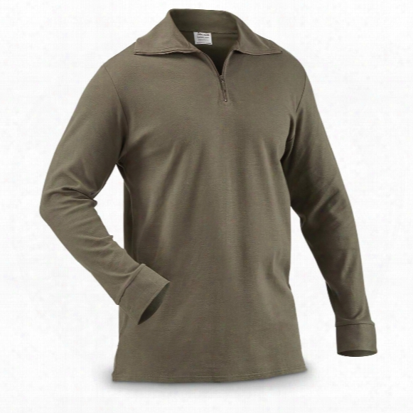 French Military Surplus Quarter Zip Long-sleeve Shirts, 2 Pack, New