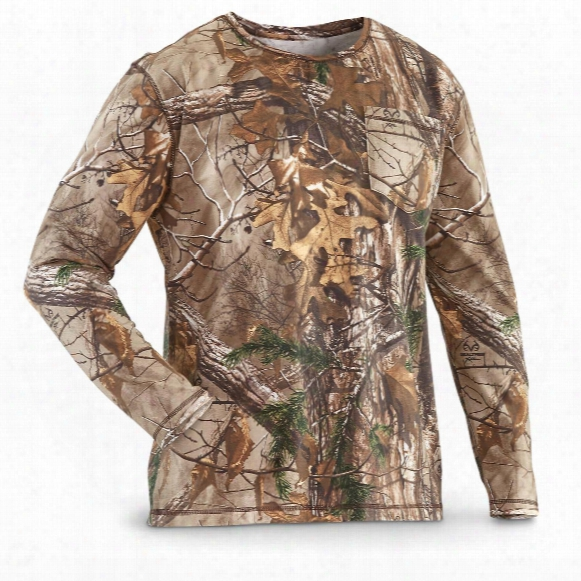 Guide Gear Men's Heavyweight Cotton Camo T-shirt, Long-sleeved