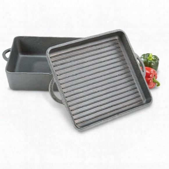 Guide Gear Rectangular Cast Iron 8 Quart Dutch Oven