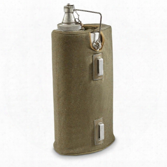 Italian Military Surplus Oil Container With Wool Cover, Used