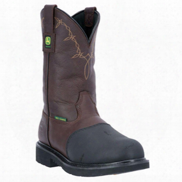 "John Deere 11"" Fire Retardant Rubber Xrd Met Guard Steel Toe Pull-on Work Boots, Dark Chocolate"