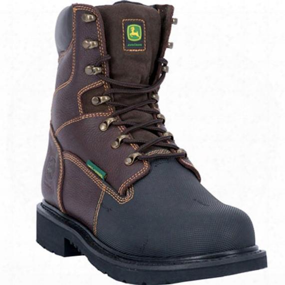 "John Deere 8"" Fire Retardant Rubber Xrd Met Guard Steel Toe Work Boots, Dark Chocolate"
