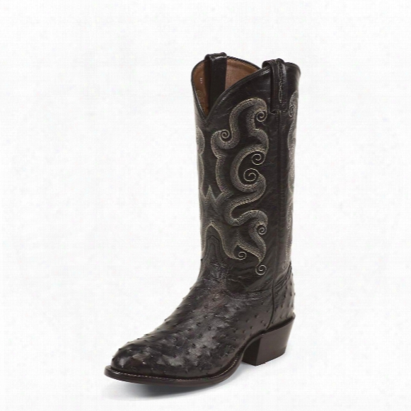 Tony Lama Black Ostrich Exotics Cushion Comfort Cowboy Boots, Ct833