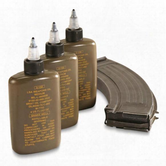 U.s. Military Surplus Lsa Weapons Oil, 3 Pack, New