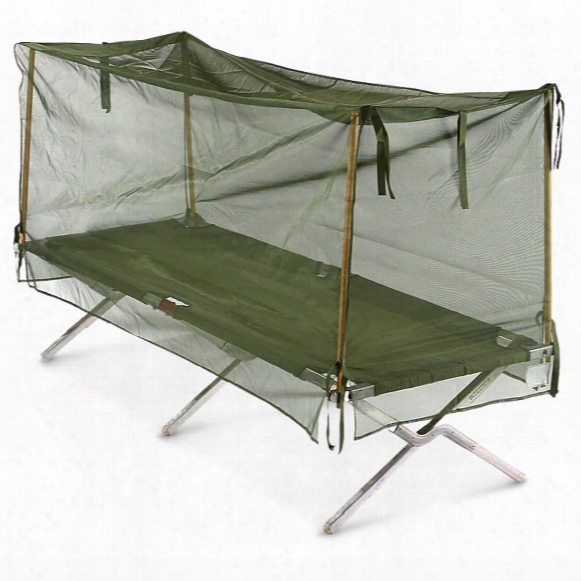 U.s. Military Surplus Mosquito Net With Poles, New