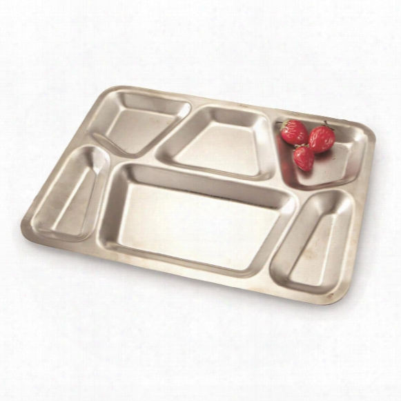 U.s. Military Surplus Stainless Steel 6-compartment Mess Tray, New