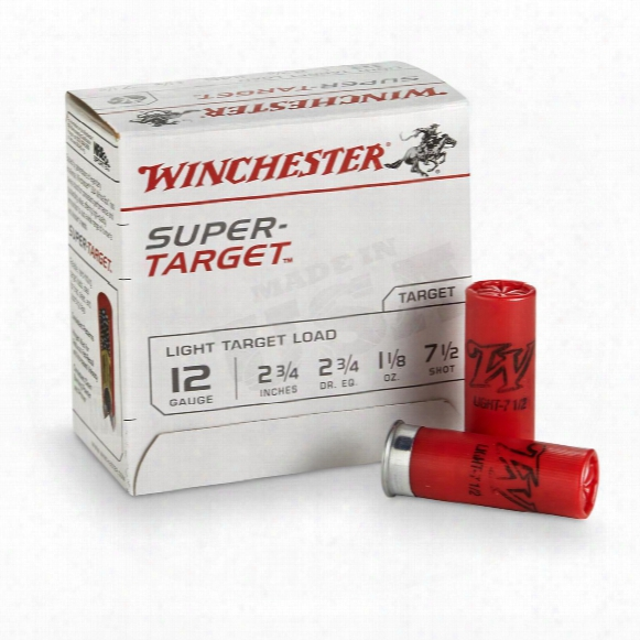 "Winchester Super Target Ammo, 12 Gauge, 2 3/4"", 1 1/8 Ounce Shot, 25 Rounds"