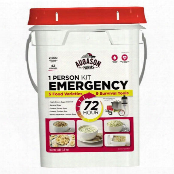 Augasn Farms Emergency 72-hour Food Storage Kit With Survival Gear, 1 Person, 42 Servings