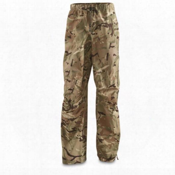 British Military Surplus Ptfe Waterproof Rain Pants, Mtp Camo, New