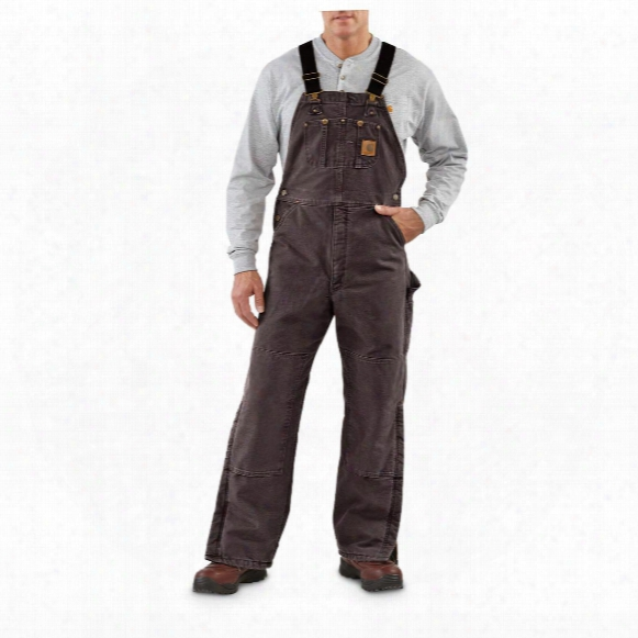 Carhartt Sandstone Duck Bib Overalls, Irregulars, Lined, Dark Brown