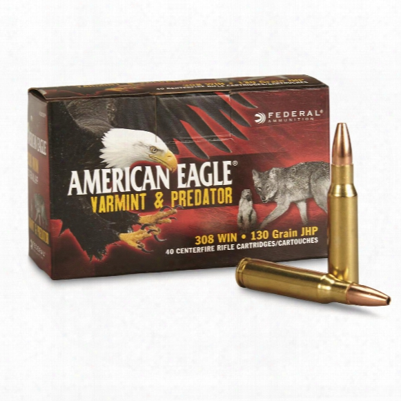 Federal American Eagle Varmint & Predator, .308 Winchester, Jhp, 130 Grain, 40 Rounds
