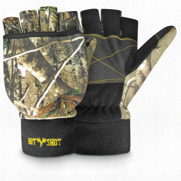 Hot Shot Men's Fleece Camo Insulated Pop-top Mittens