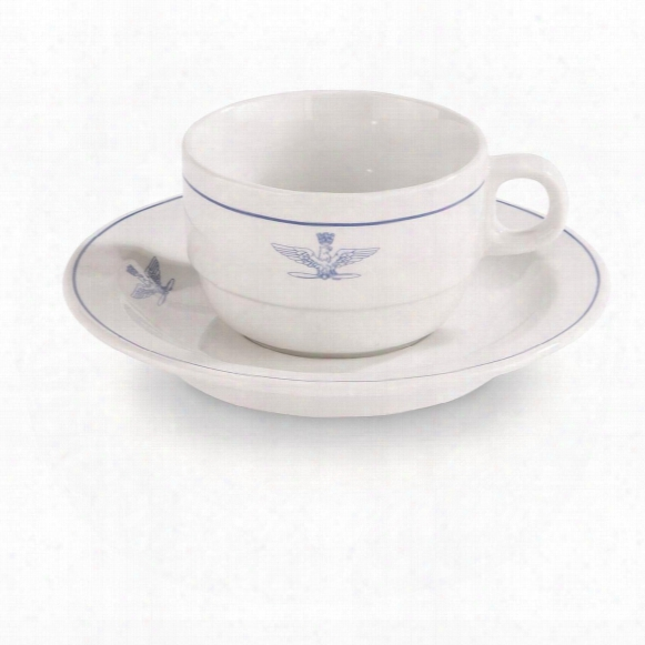 Italian Military Surplus Coffee Cup Saucer Sets, 4 Pack, New