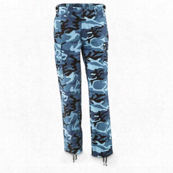 Mil-tec Military Surplus Men's Skyblue Woodland Camo Ripstop Bdu Pants, New