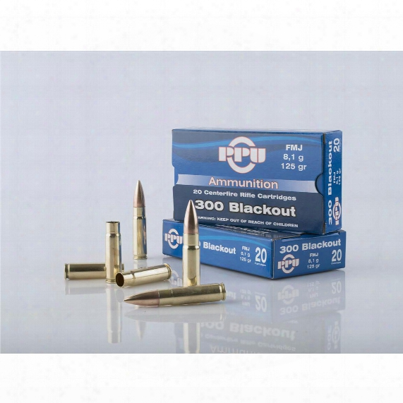 Ppu, .300 Aac Blackout, 125 Grains, Hp, Boat Tail, 20 Rounds