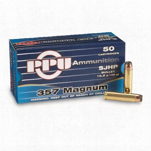 Ppu, .357 Magnum, Jacketed Flat Point, 158 Grain, 50 Rounds